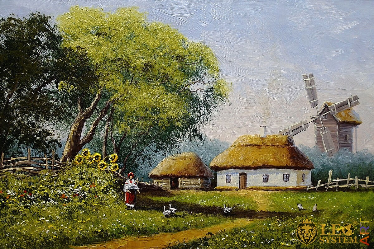 Nature landscape and rural houses in the village, original painting