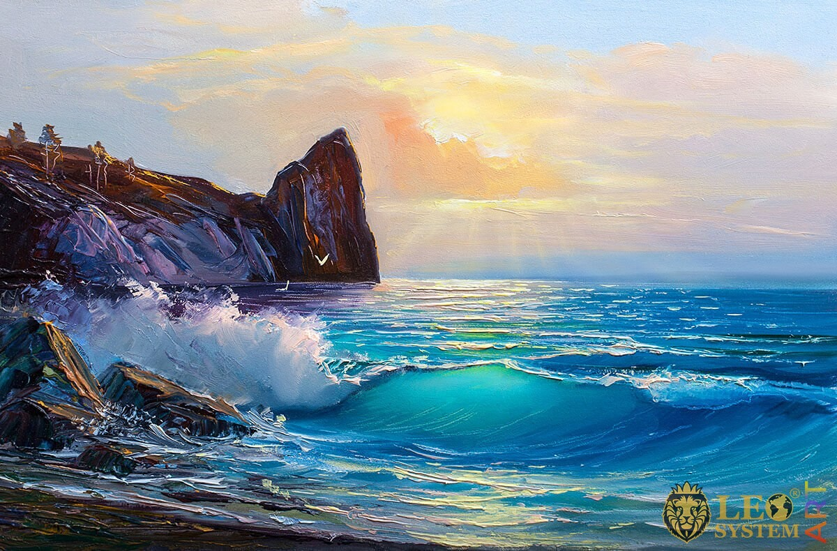 Original painting with sea waves at sunset