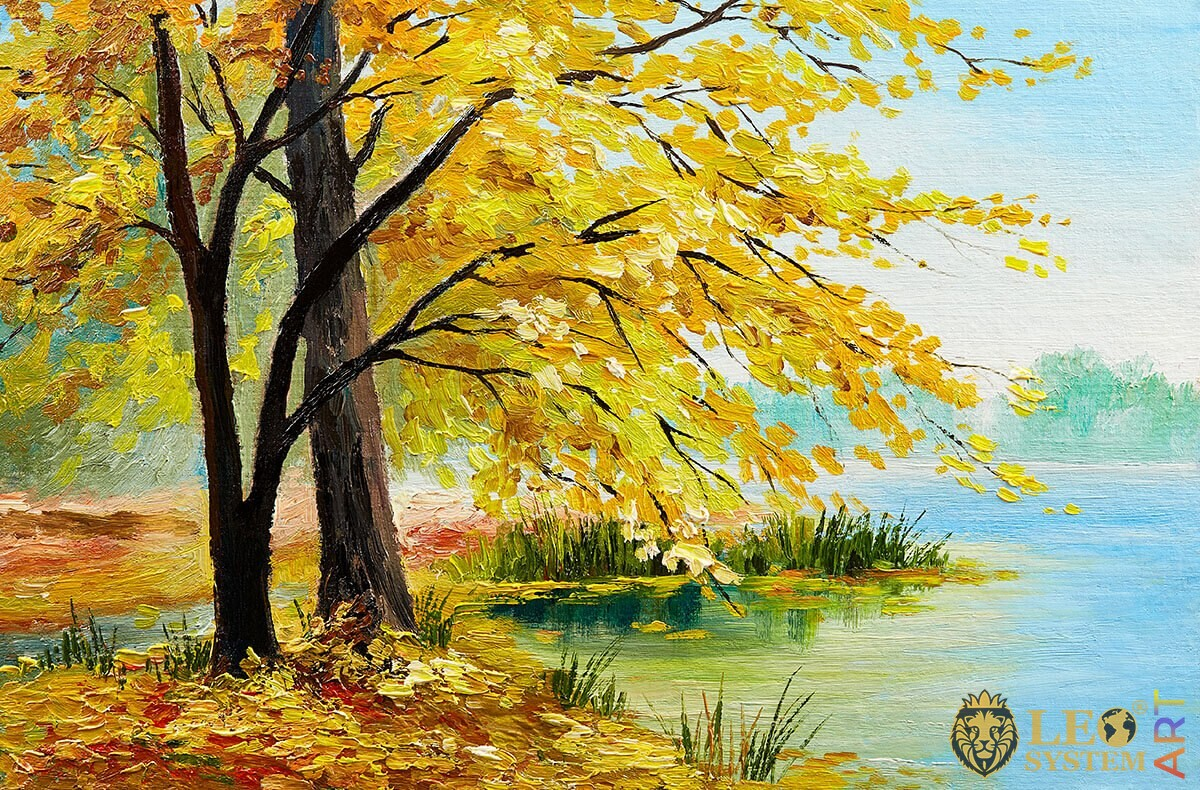 Landscape, tree with yellow leaves and river, oil painting
