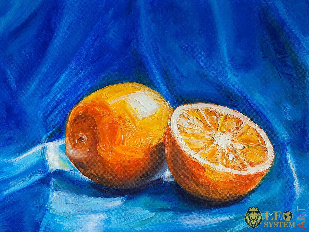 Oil painting two oranges on a blue background