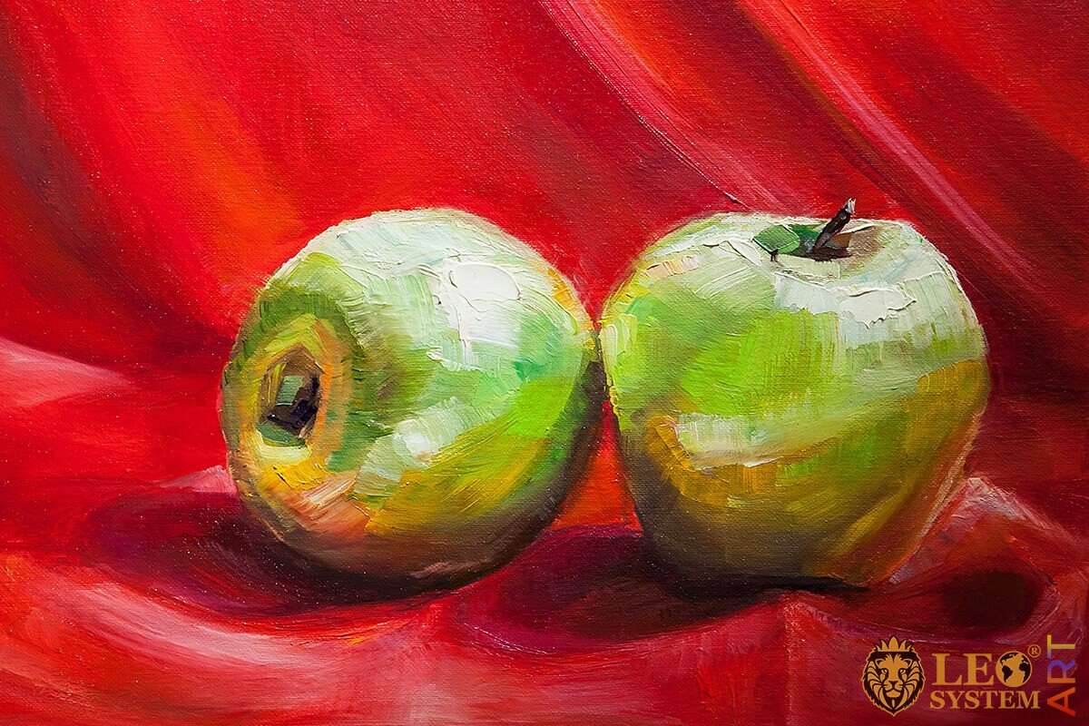 Oil painting on canvas two green apples on a red background