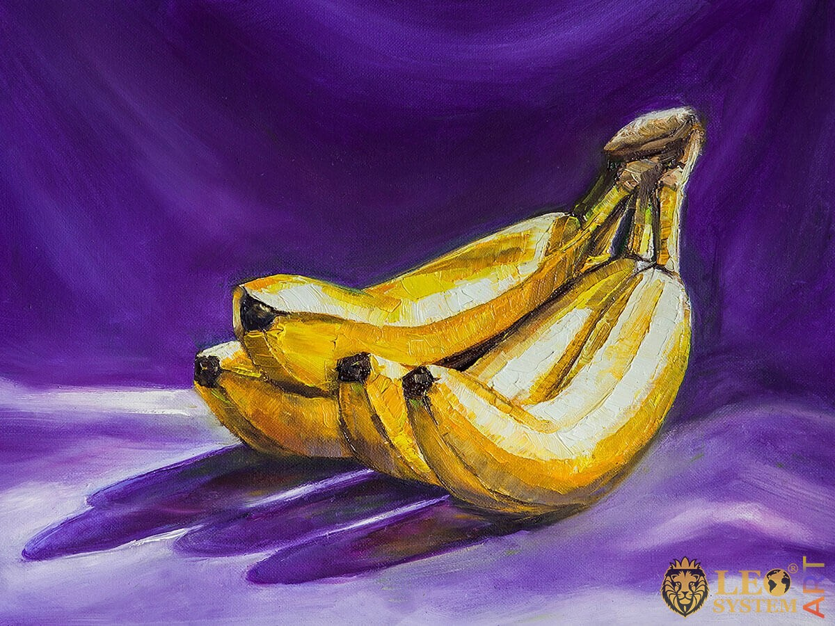 Oil painting on canvas a bunch of yellow bananas on a purple background