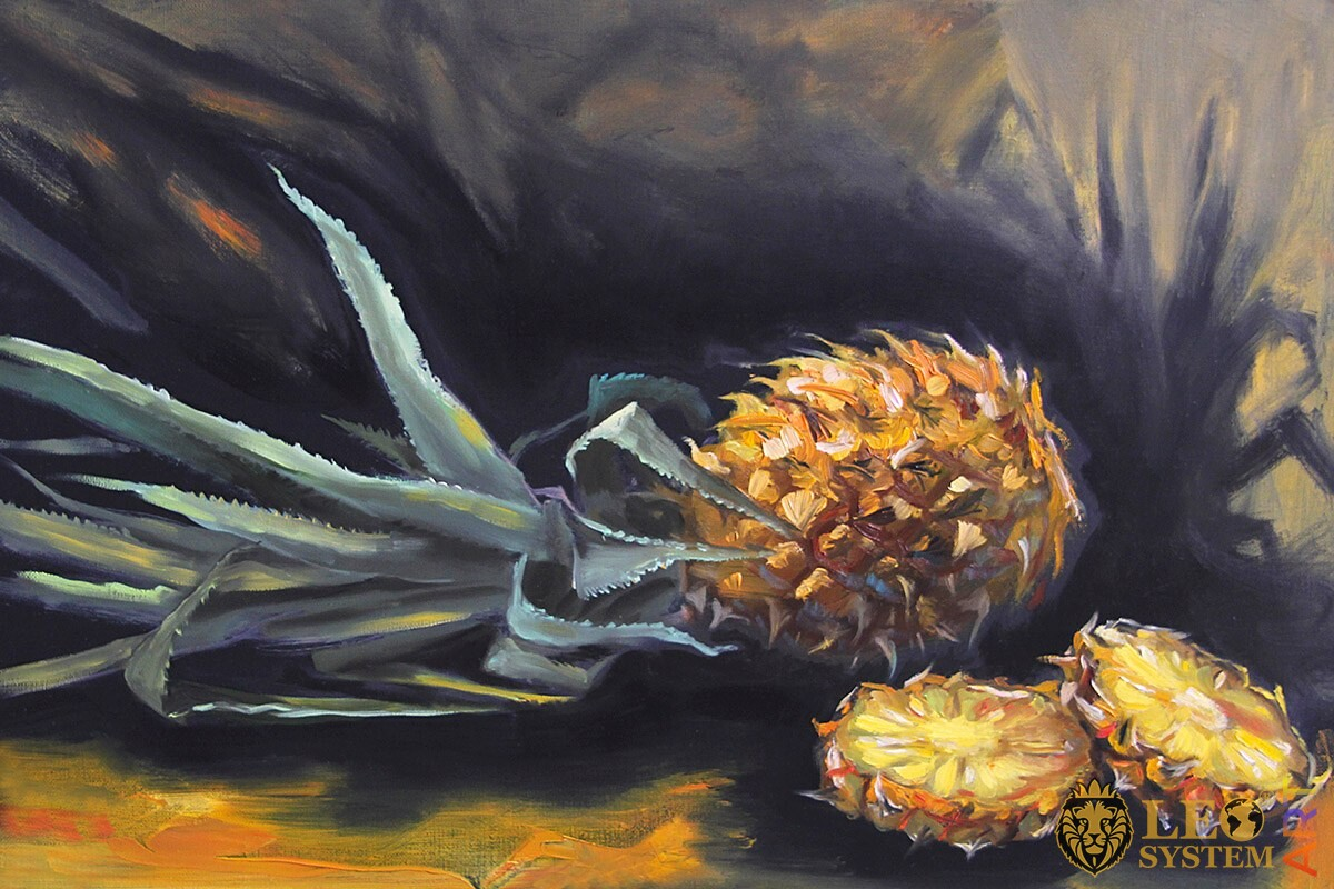 Oil painting fruit pineapple