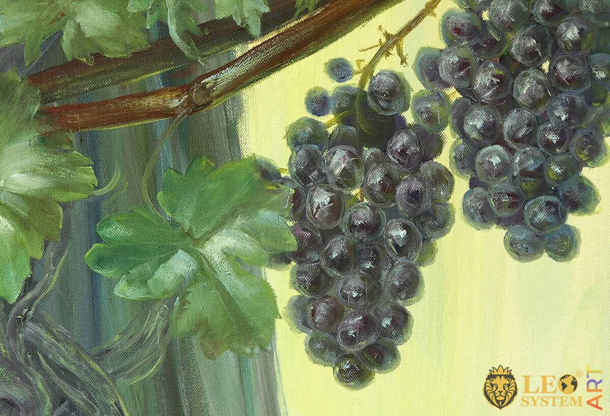 Oil painting on canvas blue grapes berries with leaves