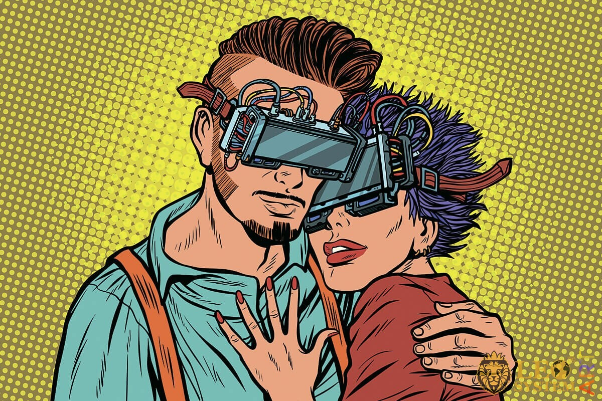 Picture of a romantic couple wearing virtual glasses