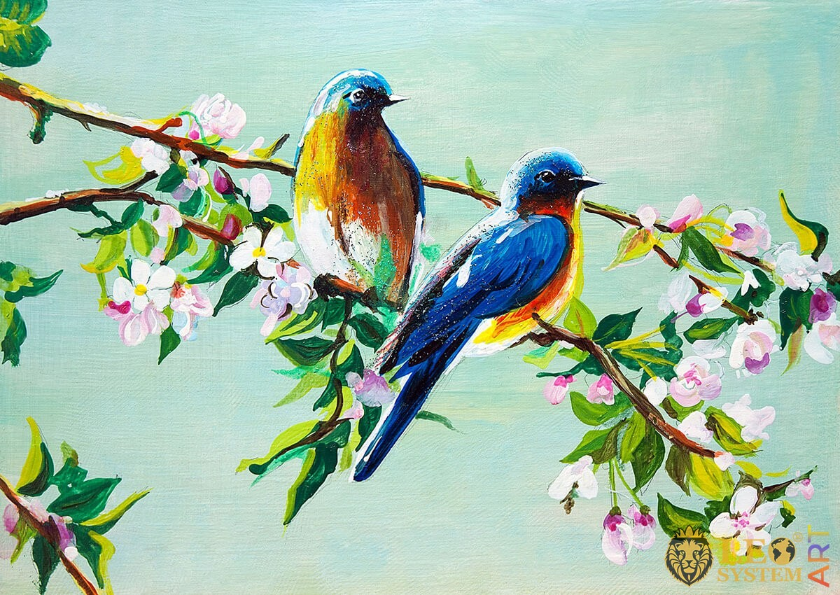 Oil painting birds on a branch