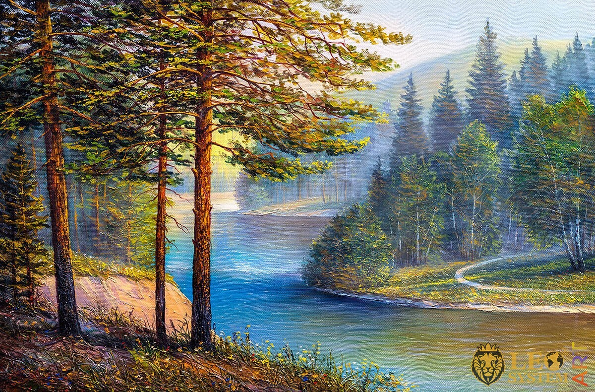 Forest with pine and spruce, river shore, oil painting