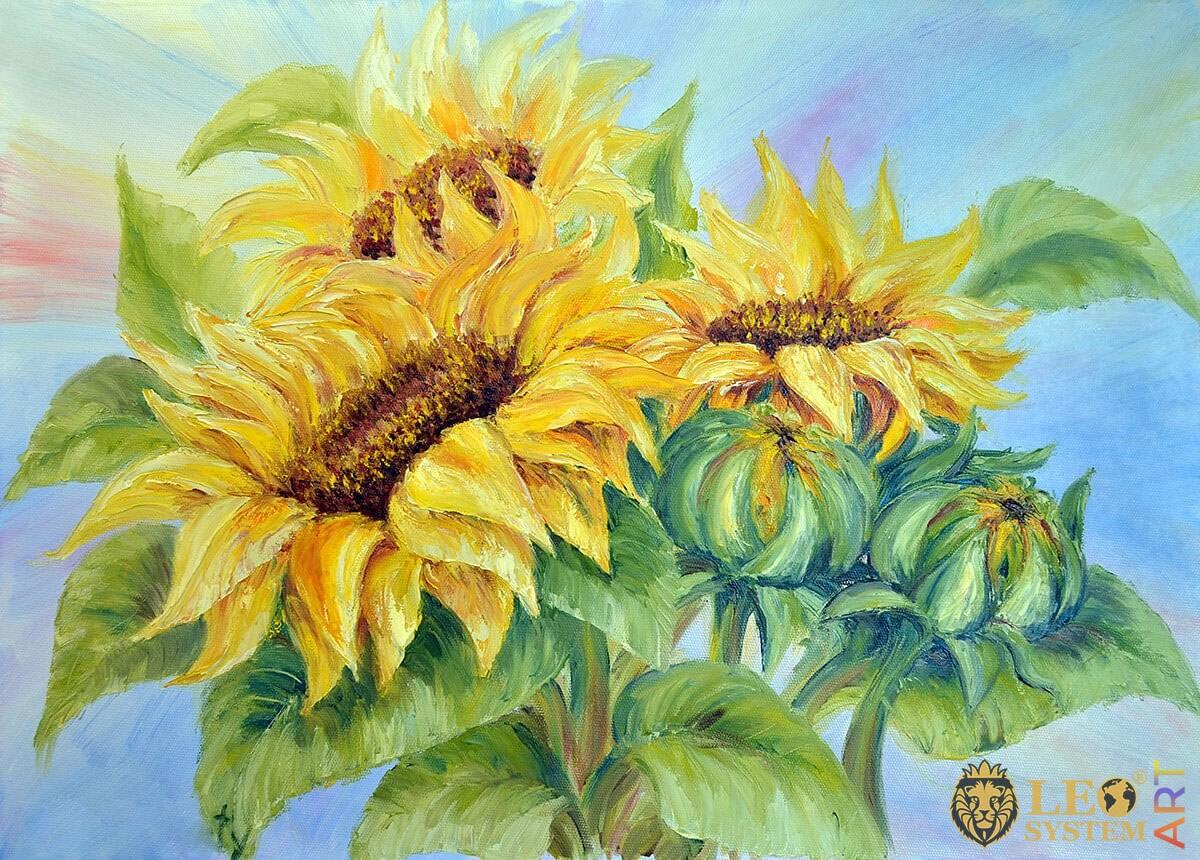 Original painting with yellow sunflowers