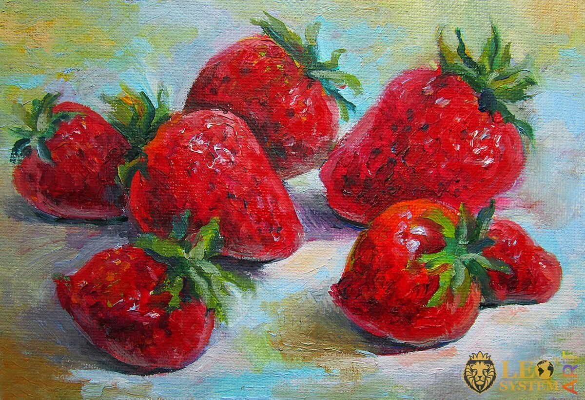 Oil painting on canvas strawberries with leaves