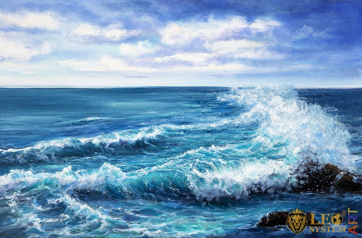 Raging sea waves and splashes, oil painting