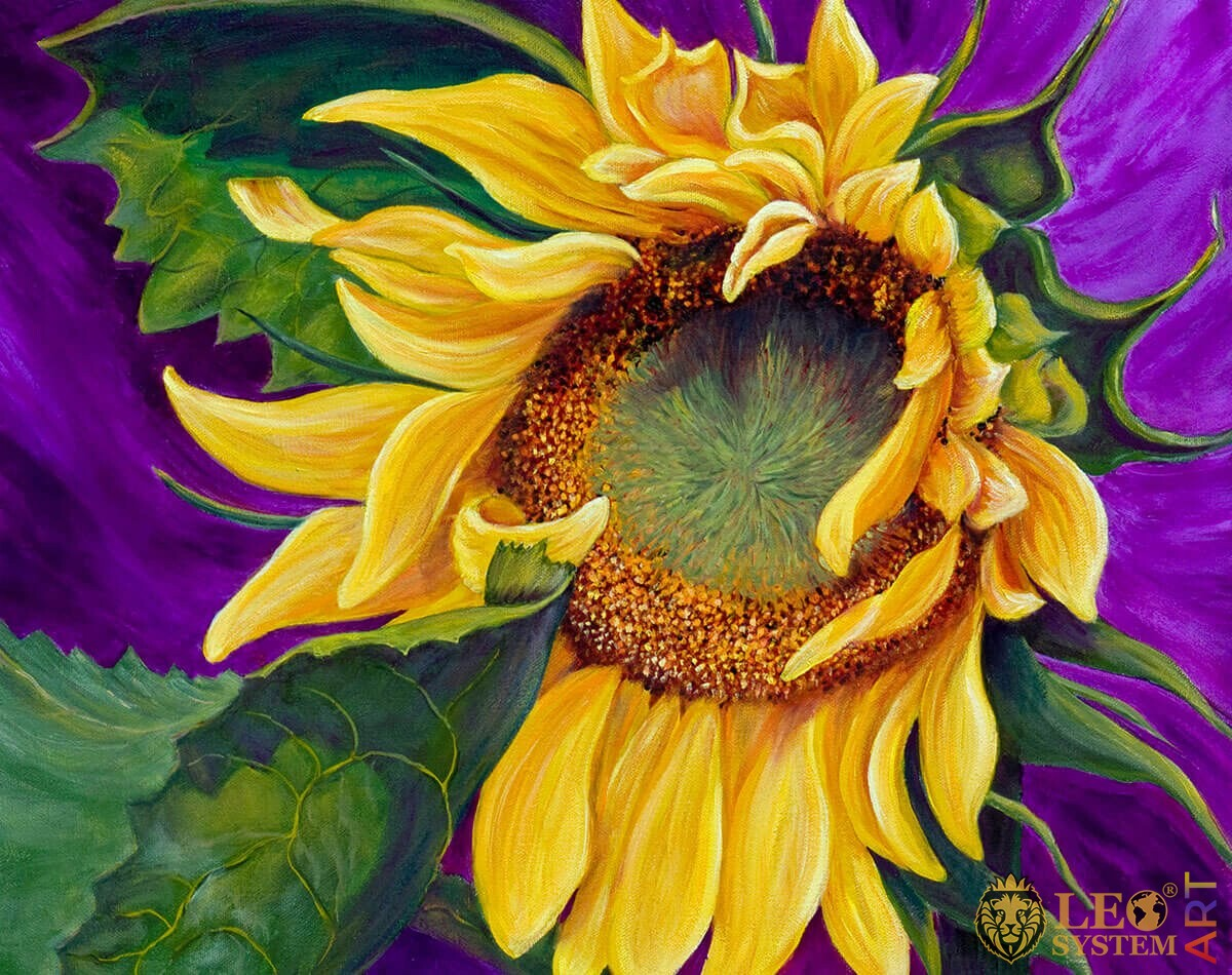 Painting sunflower with large green leaves and on a purple background