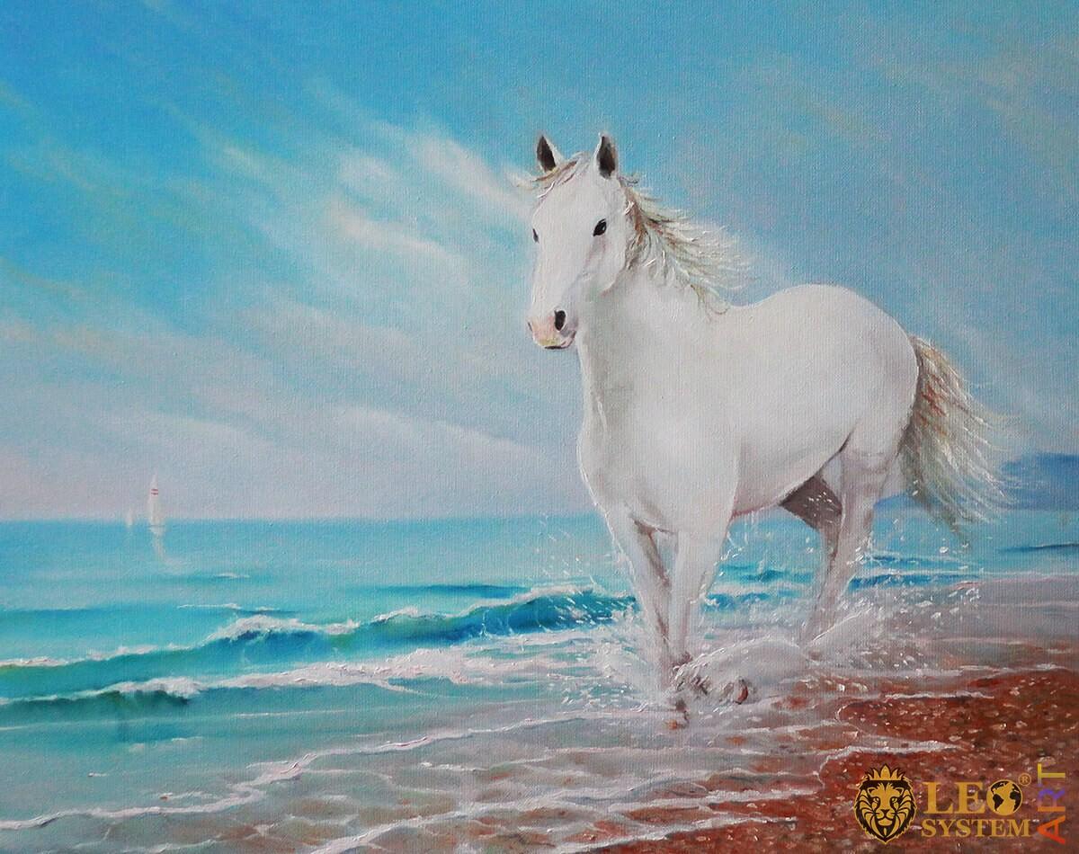 Painting a graceful white horse runs along the seashore
