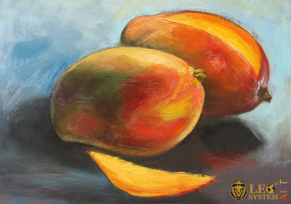 Original oil painting of two ripe mangoes