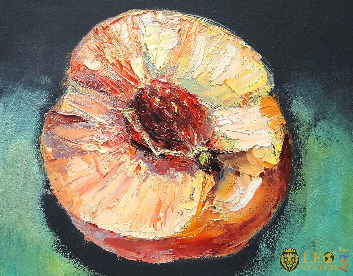 Original oil painting peach with seed