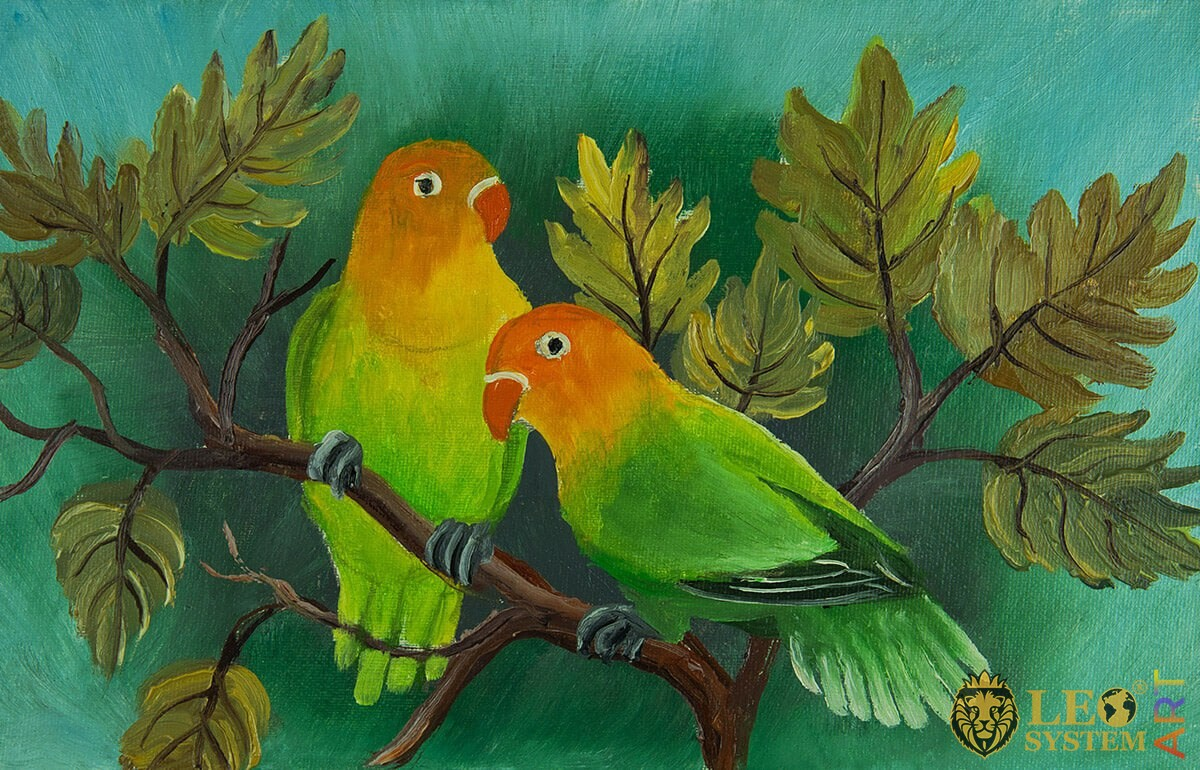 Oil painting two parrots on a branch