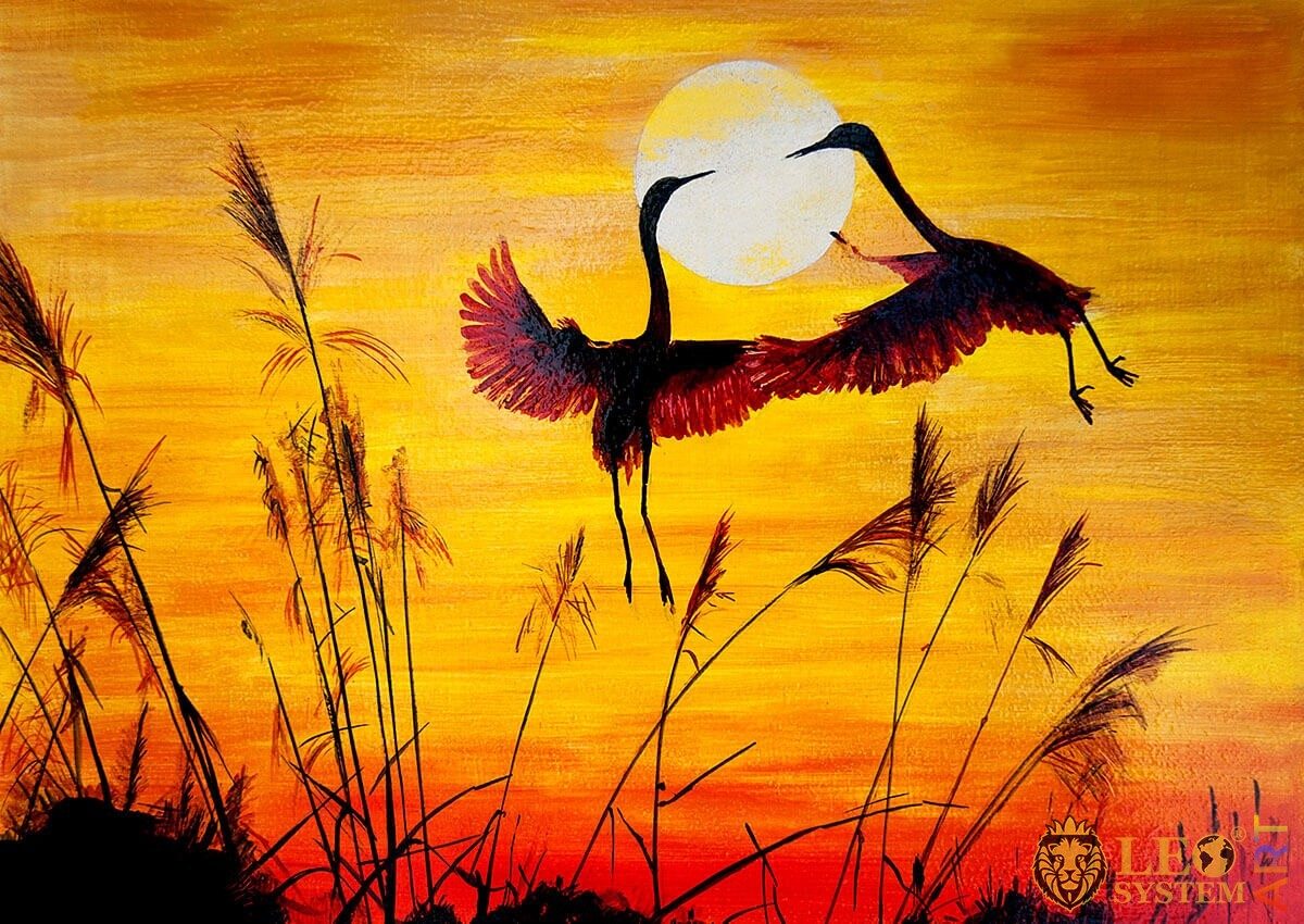 Oil painting two bird cranes take off at sunset