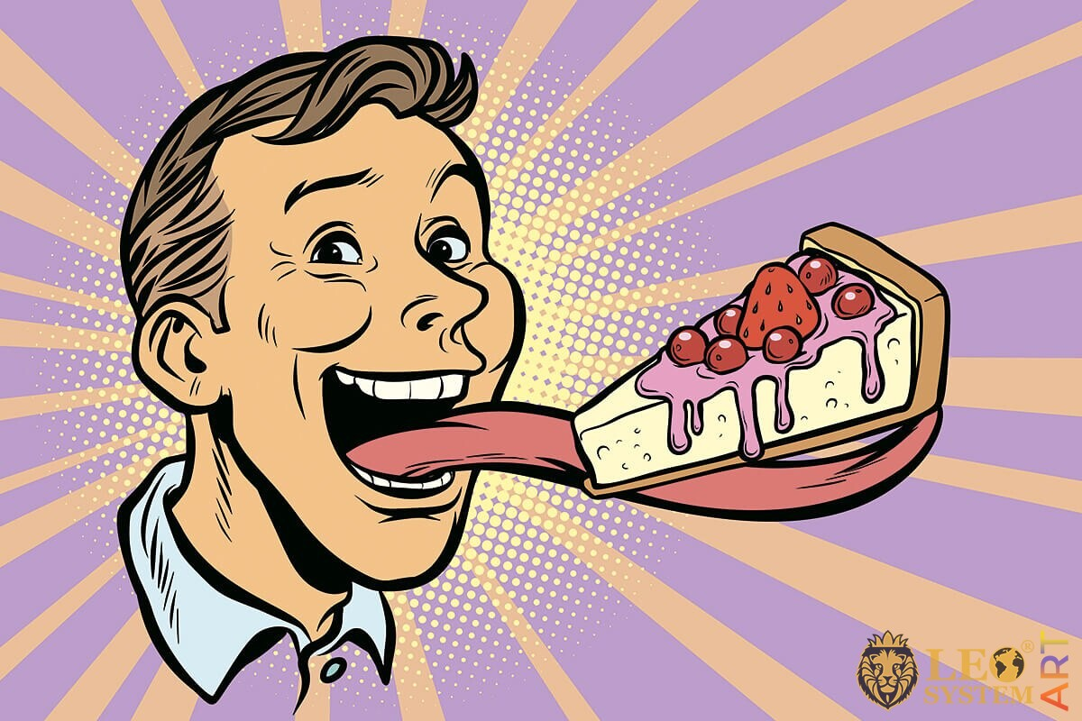Hungry man with a long tongue eating a piece of cake