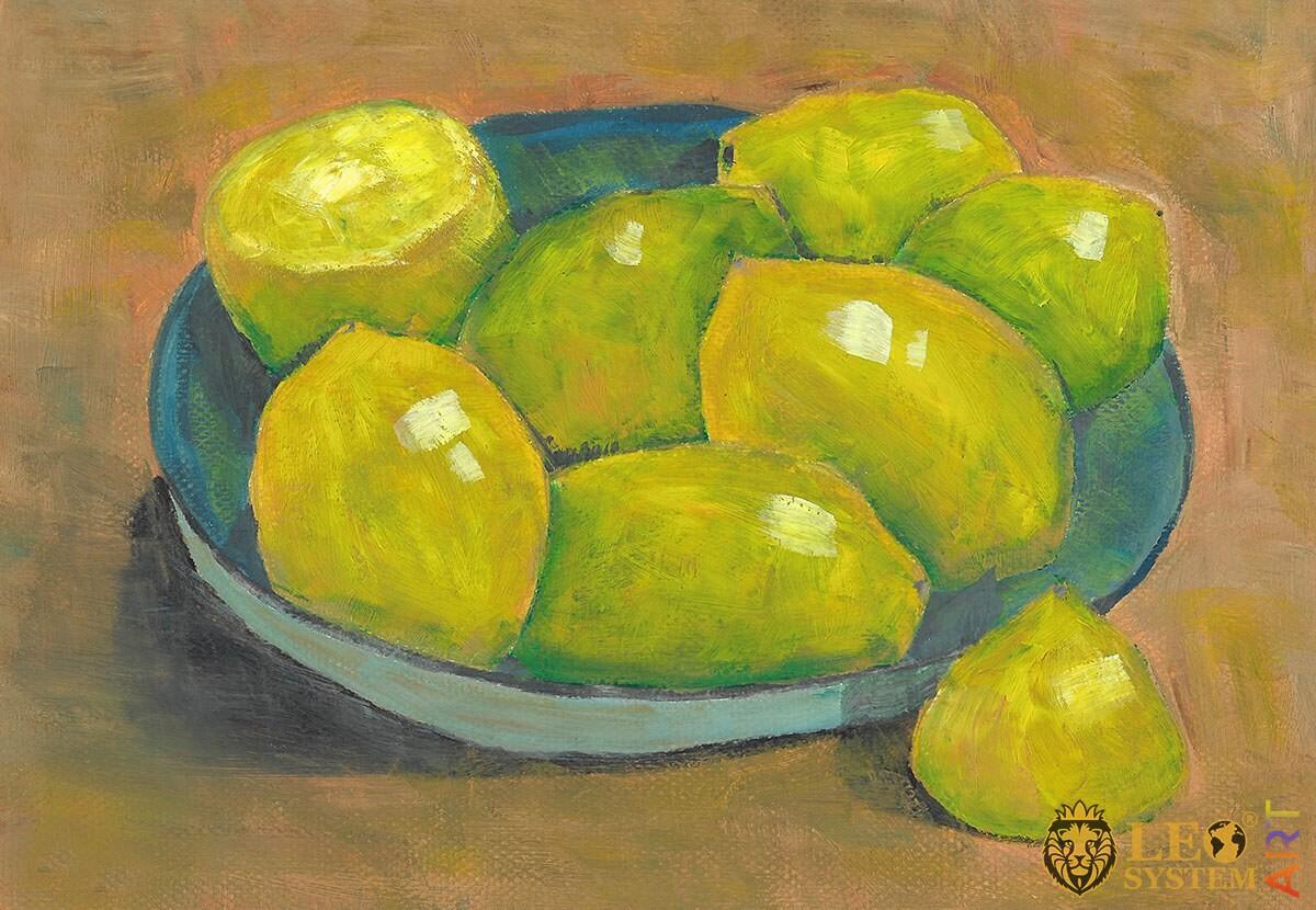 Original painting lemons in a plate