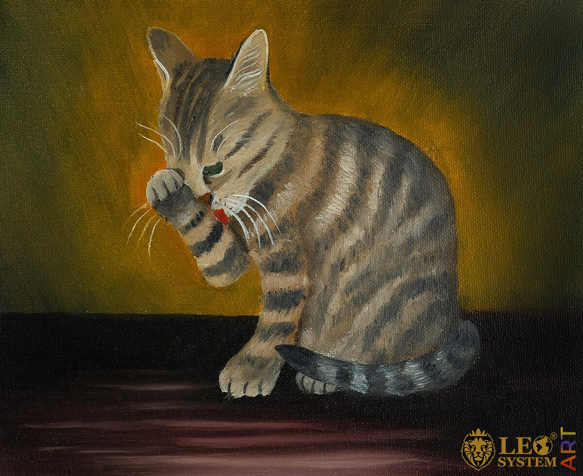 Oil painting cat licks its paw