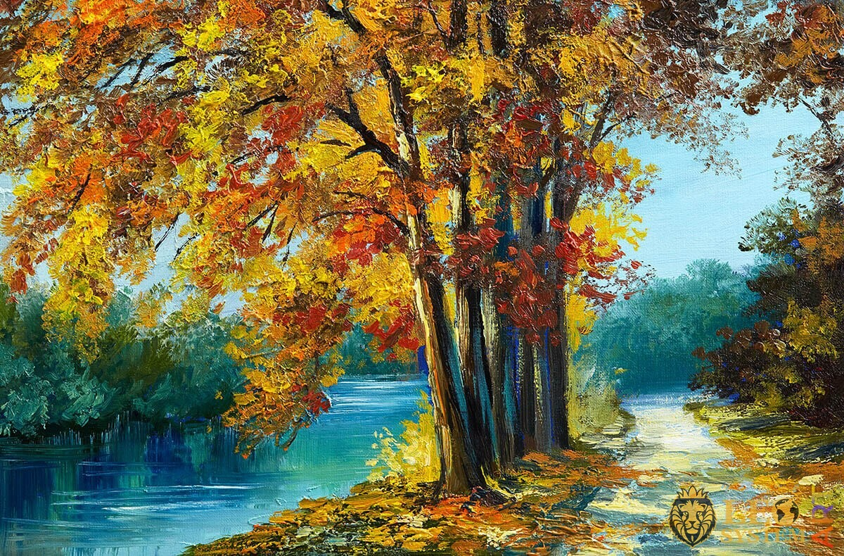 Oil painting trees in the forest with yellow and red leaves and river