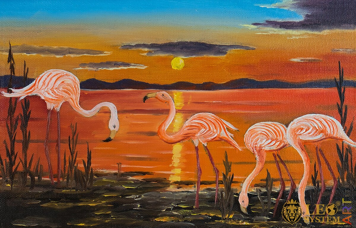 Oil painting of several flamingos at sunset