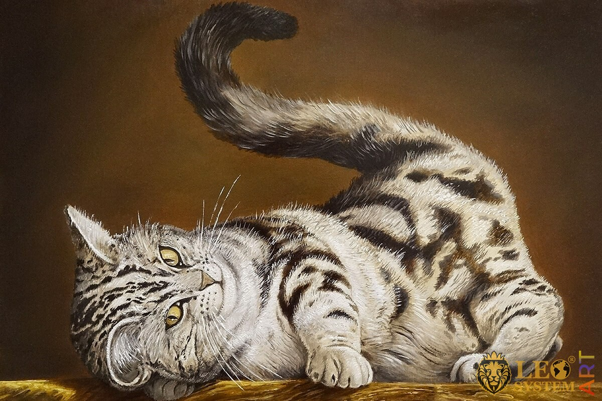 Painting of a cute cat lying on its back and raising its tail