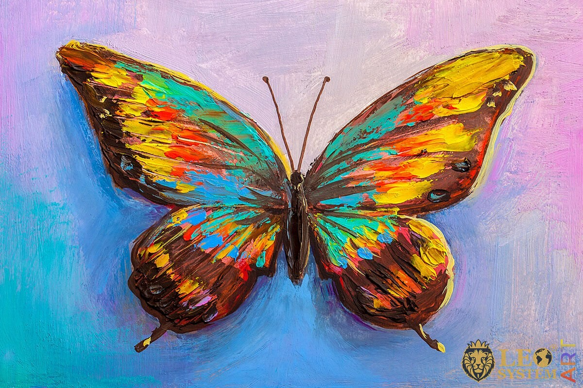 Painting brown butterfly with blue, turquoise and yellow dots on the wings