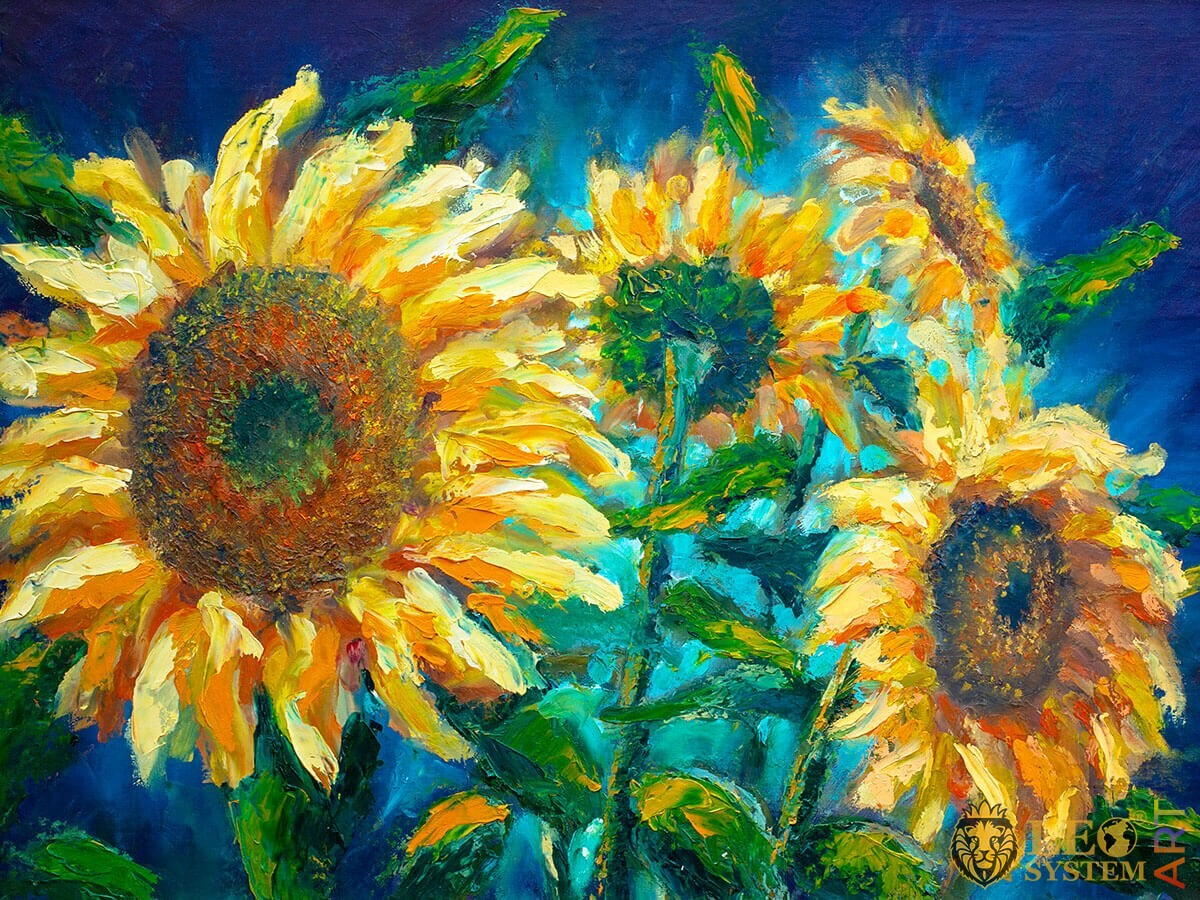 Original painting of bright sunflowers on a blue background
