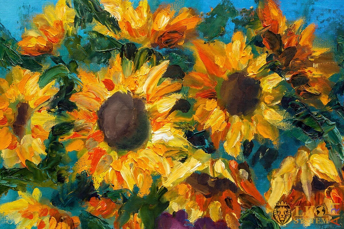 Oil painting on canvas with sunflowers