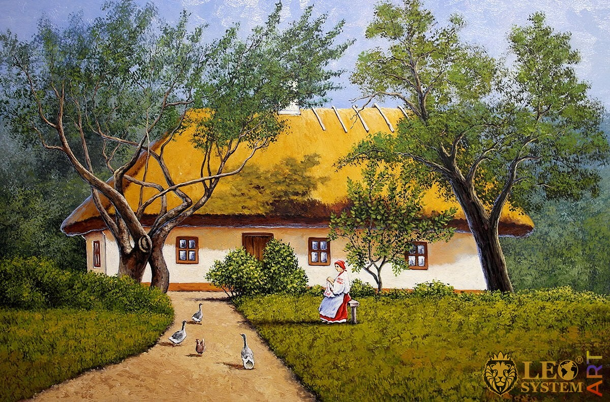 Painting with a rural house, beautiful garden and walking geese