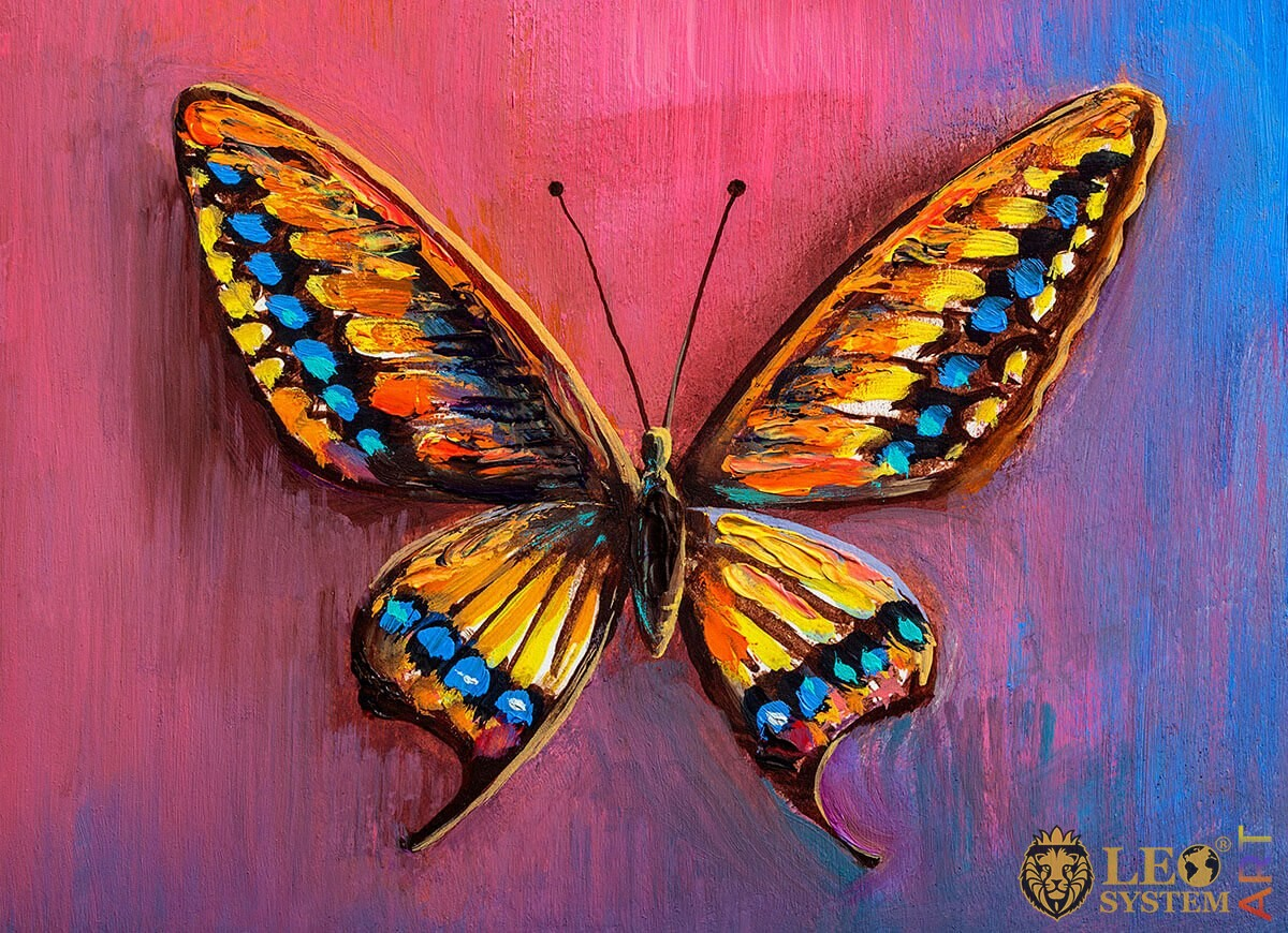 Painting burgundy butterfly with blue, brown and yellow dots on the wings