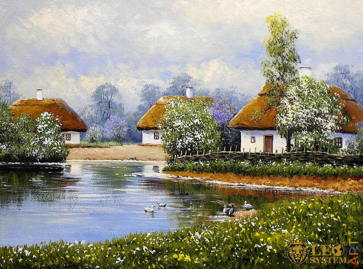 Oil painting with rural houses, lake and ducks