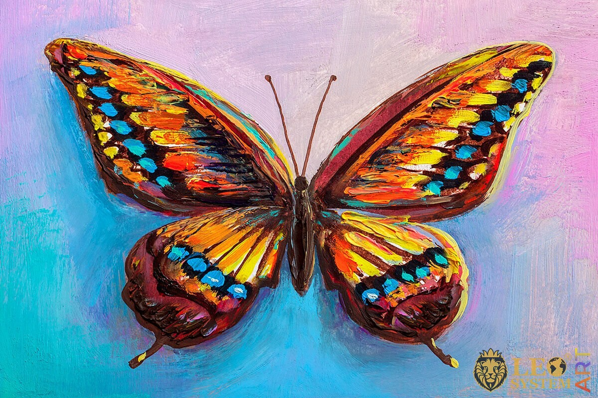Painting burgundy butterfly with blue, orange and yellow dots on the wings