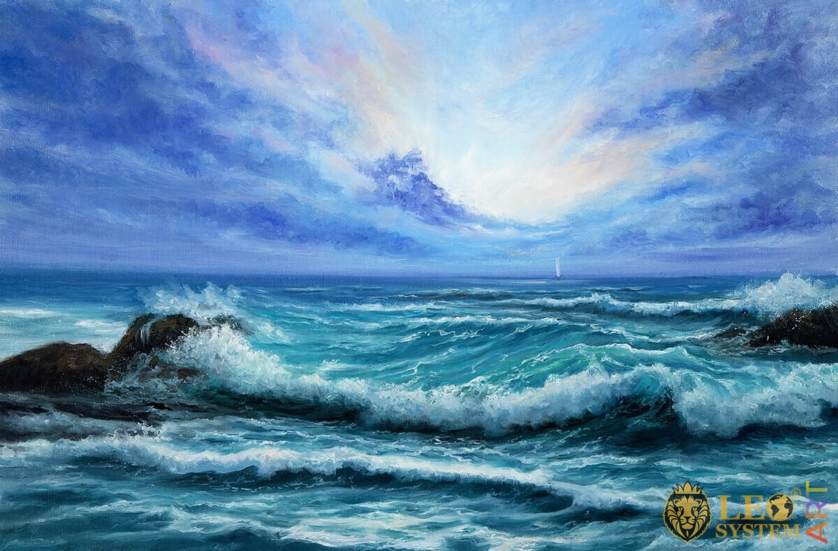 Raging sea waves at sunset, oil painting