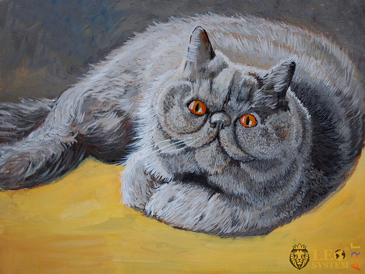 Oil painting fat cat with big eyes