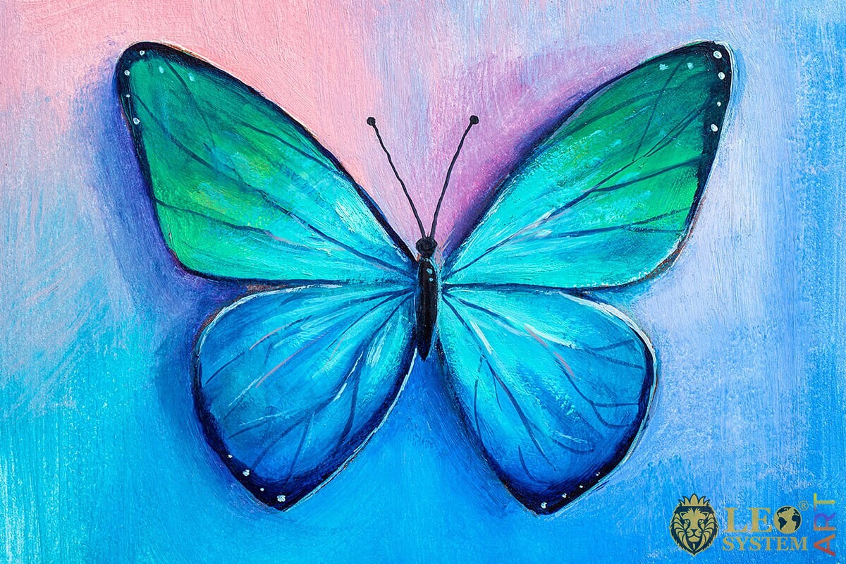 Romantic painting blue butterfly with a turquoise shade