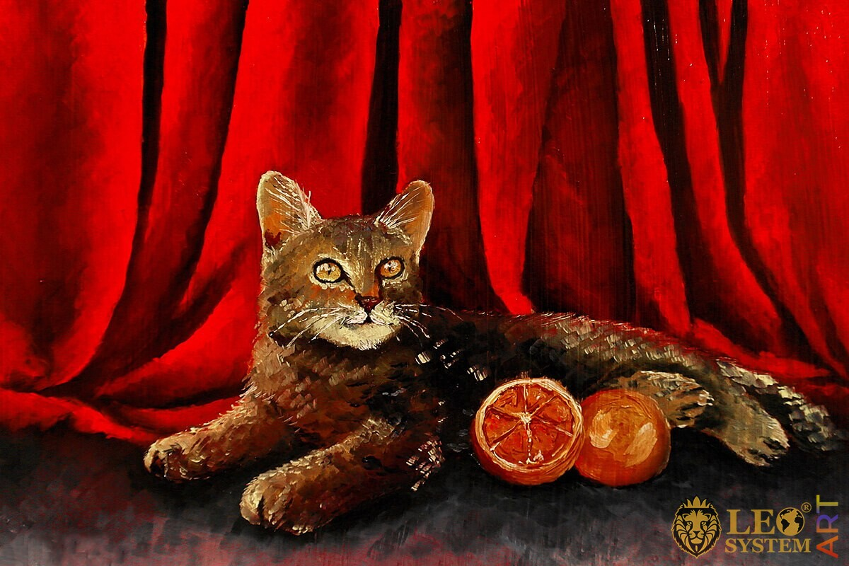 Oil painting cat lies with oranges
