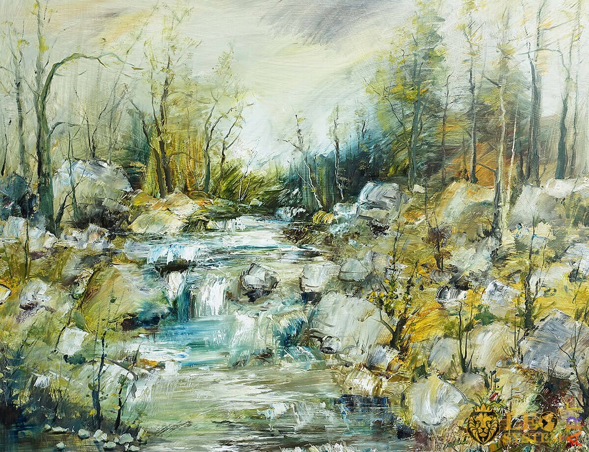 Original painting with a stream and stones in the forest