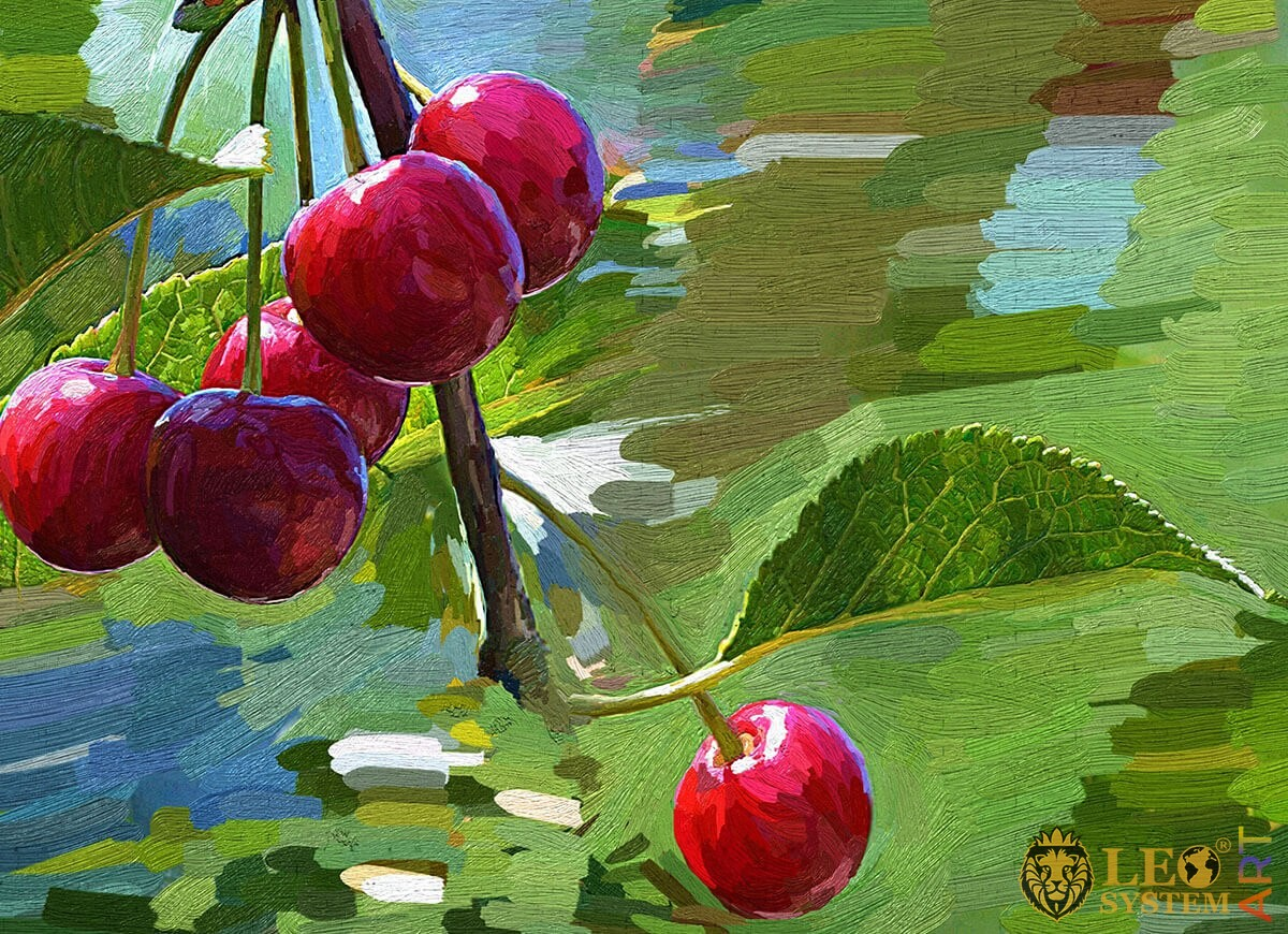 Original painting cherry on a branch