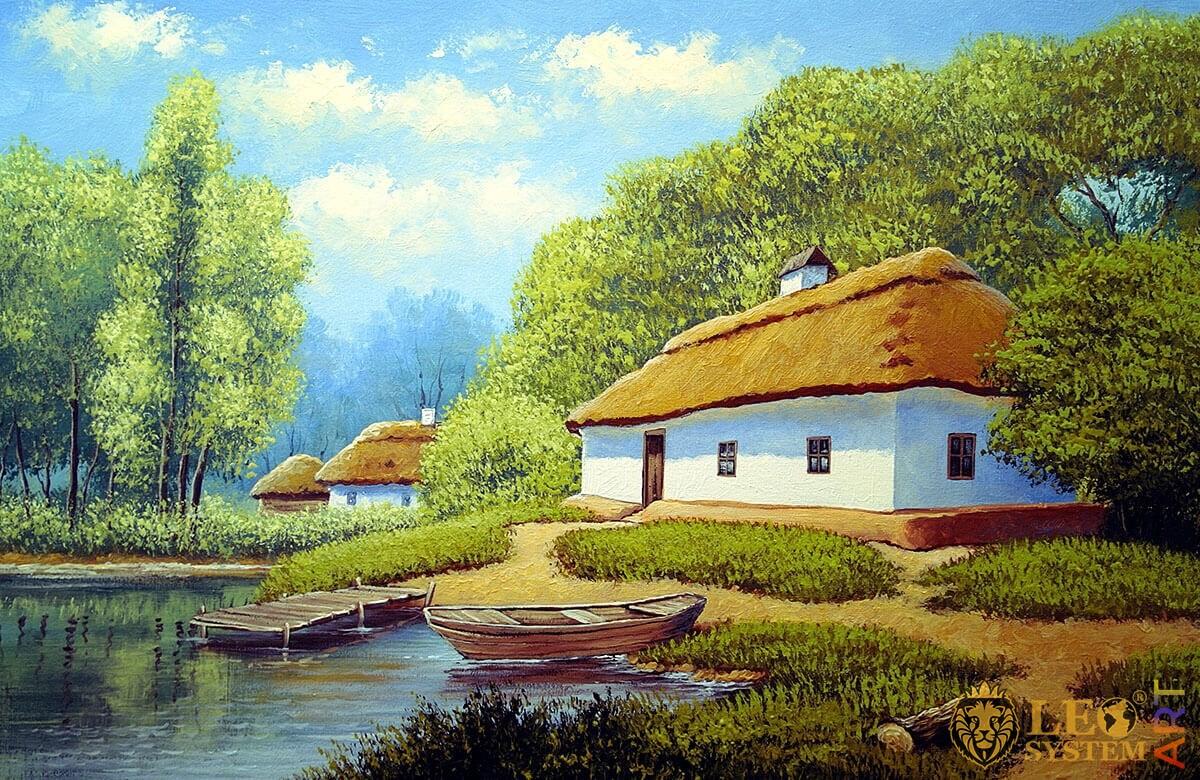Nature, lake, boats and rural houses, original painting