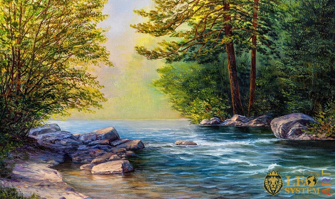 Oil painting forest, stones and river