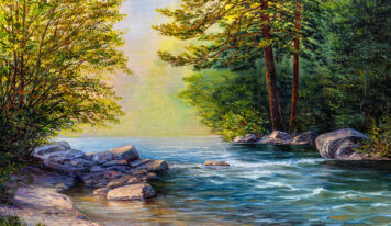Oil Paintings by the River in the Forest