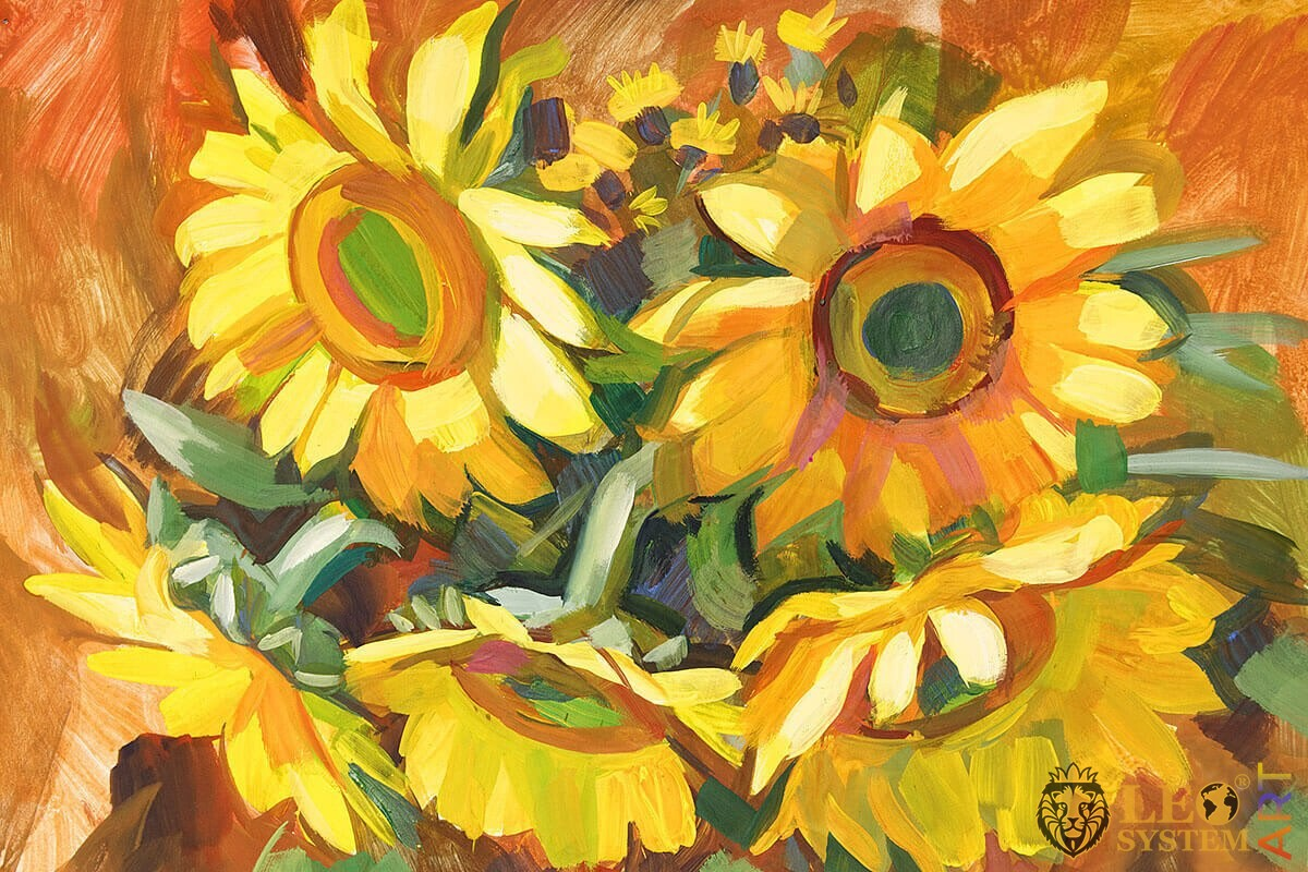 Painting with bright sunflowers