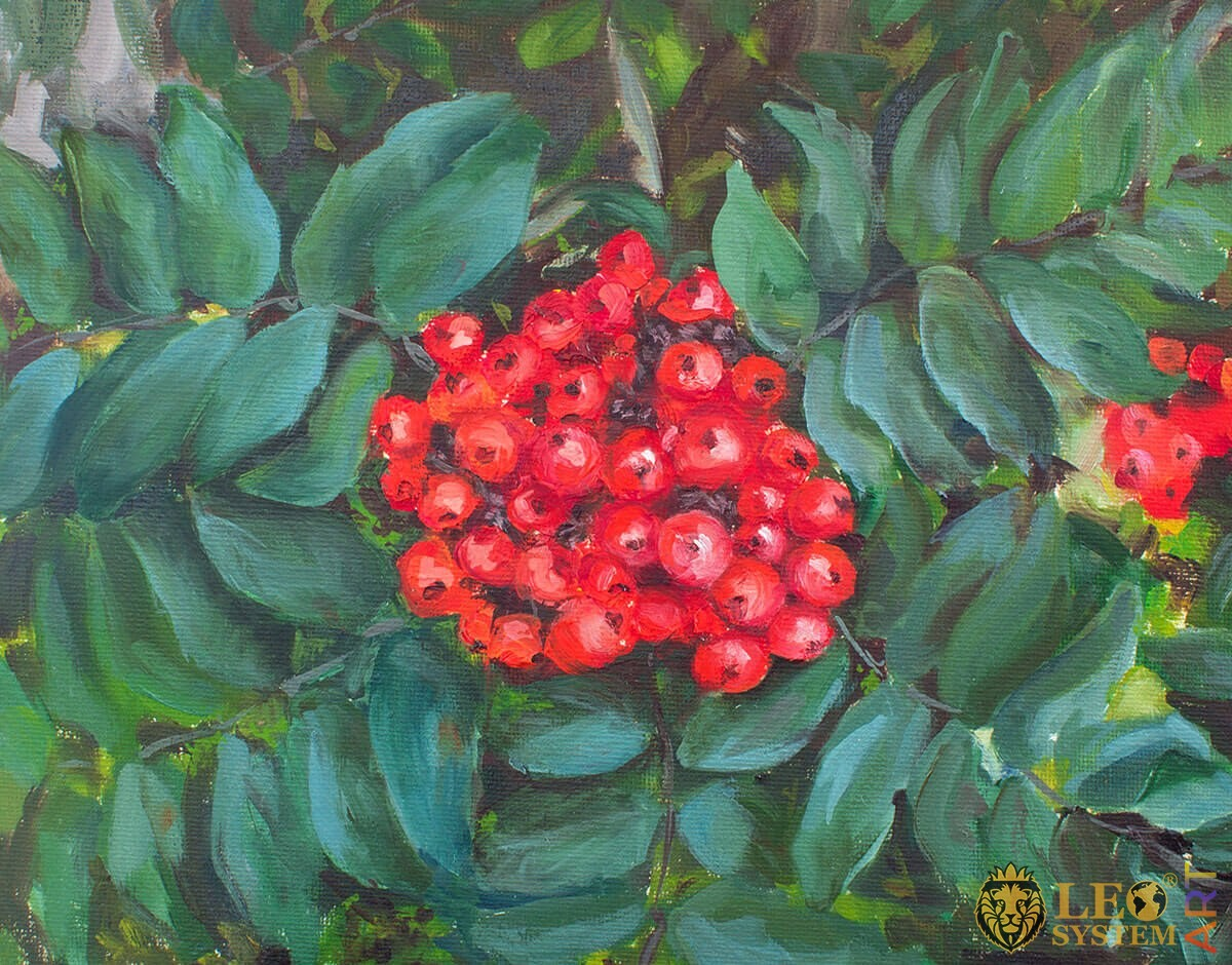 Oil painting on canvas rowan berries with leaves