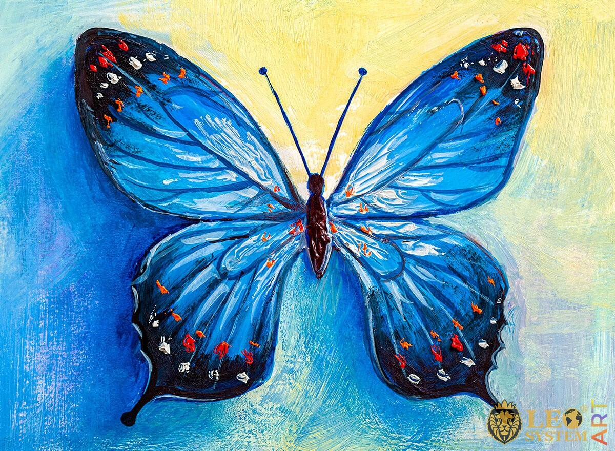 Painting blue butterfly with white and red dots on the wings