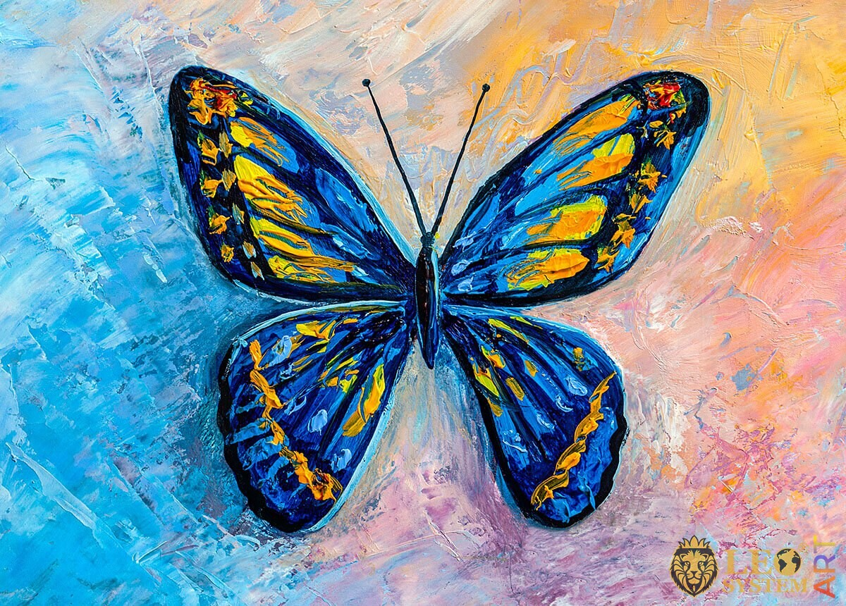 Painting blue butterfly with yellow dots on the wings