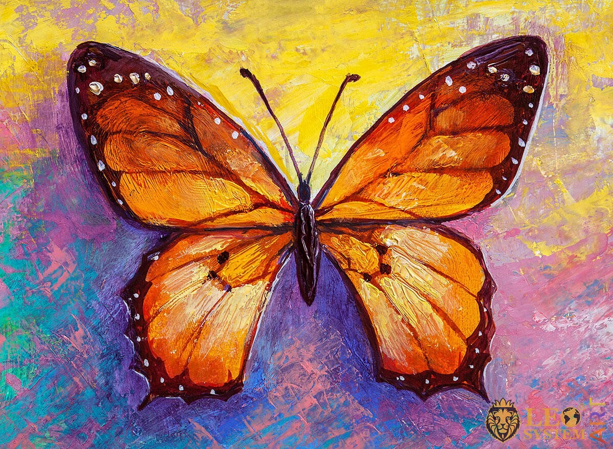 Painting orange butterfly with white dots on the wings