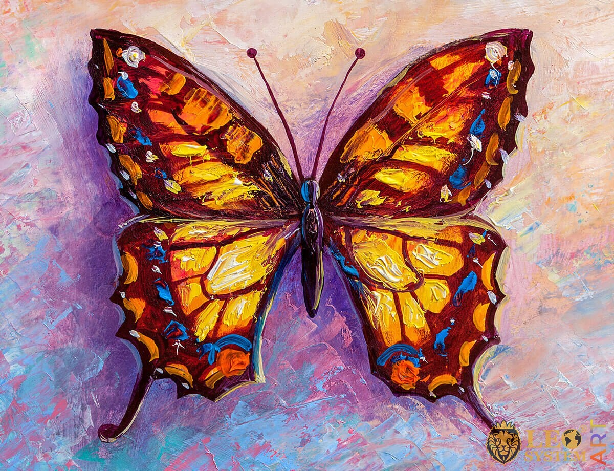 Romantic painting orange butterfly with a yellow tint