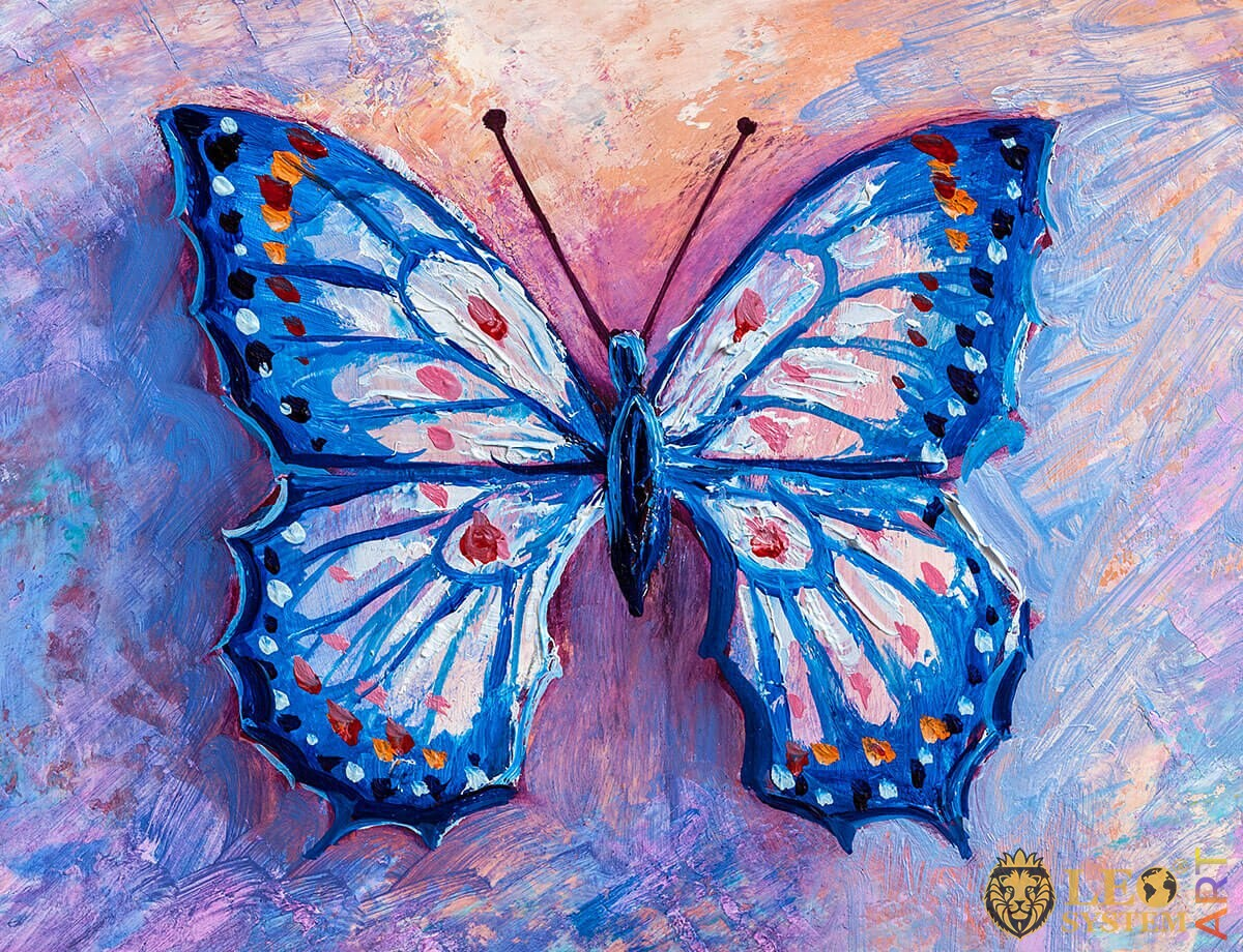Oil painting blue butterfly with red and pink dots on the wings