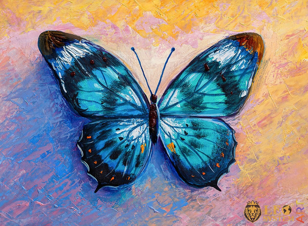 Oil painting butterfly blue with a dark blue tint